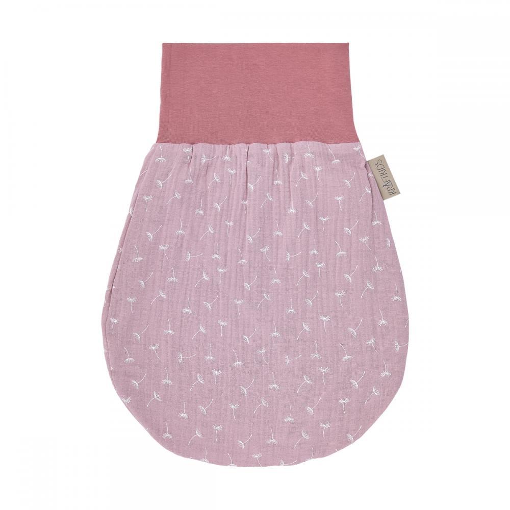KraftKids Strampelsack Frühling Sommer Musselin rosa Pusteblumen Größe 34 cm (0 bis 6 Monate)