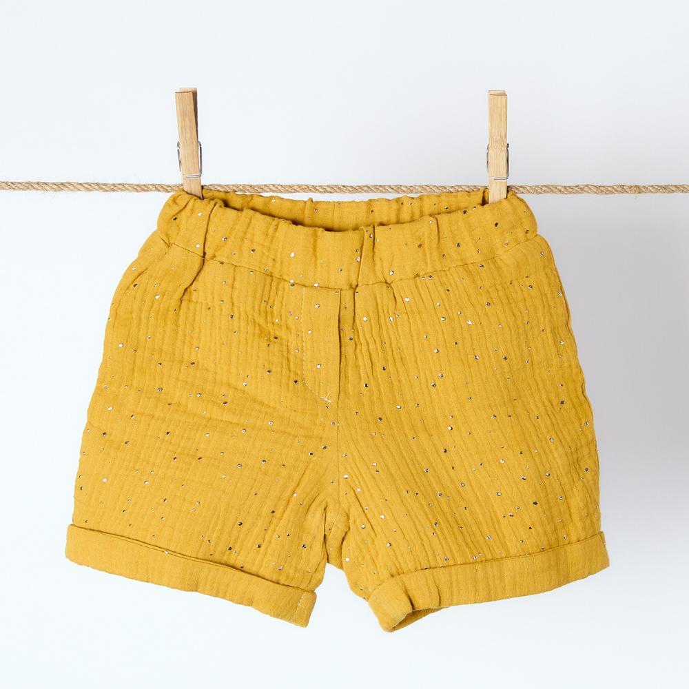 KraftKids Mädchen Shorts Musselin goldene Punkte auf Gelb