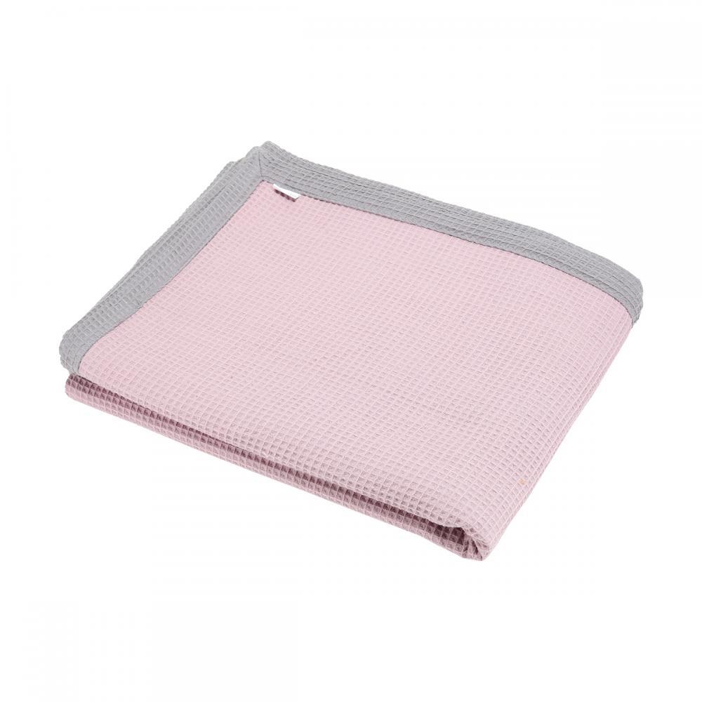 KraftKids Tagesdecke Waffel Piqué grau und Waffel Piqué rosa