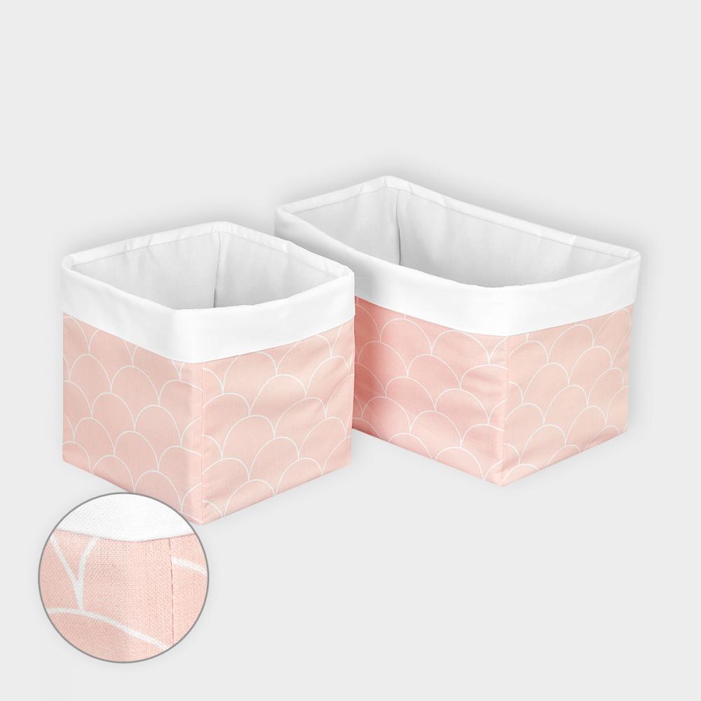 KraftKids Körbchen Uniweiss und weiße Halbkreise auf Pastelrosa 20 x 33 x 20 cm