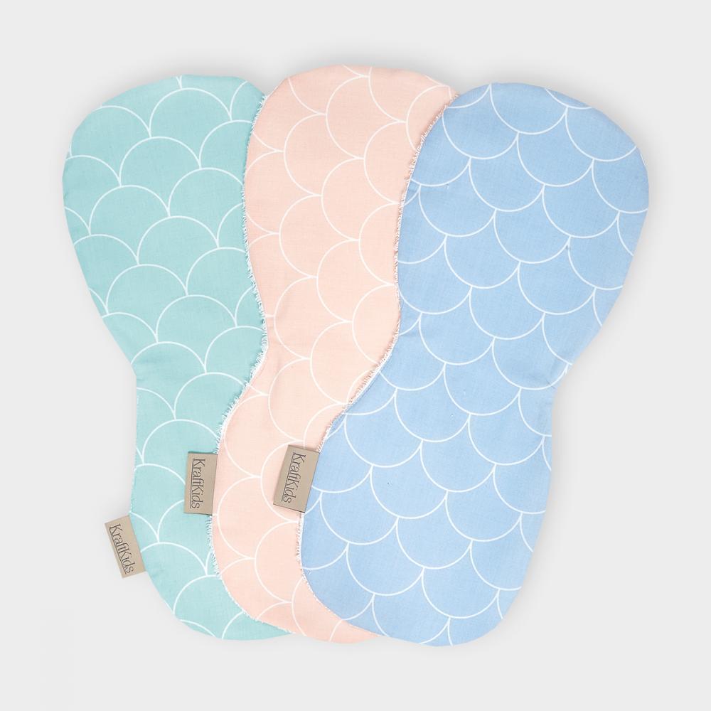 KraftKids Spucktuch weiße Halbkreise auf Pastelblau und weiße Halbkreise auf Pastelrosa und weiße Halbkreise auf Pastelmint 3er Set Pastel Halbkreise