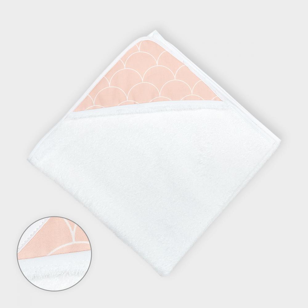 KraftKids Kapuzenhandtuch weiße Halbkreise auf Pastelrosa