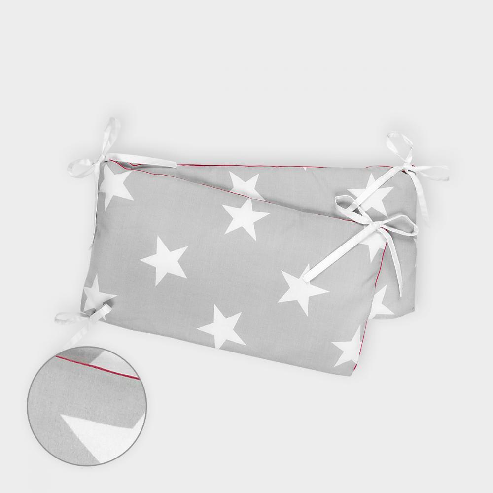 KraftKids Nestchen große weiße Sterne auf Grau Nestchenlänge 60-70-60 cm für Bettgröße 140 x 70 cm