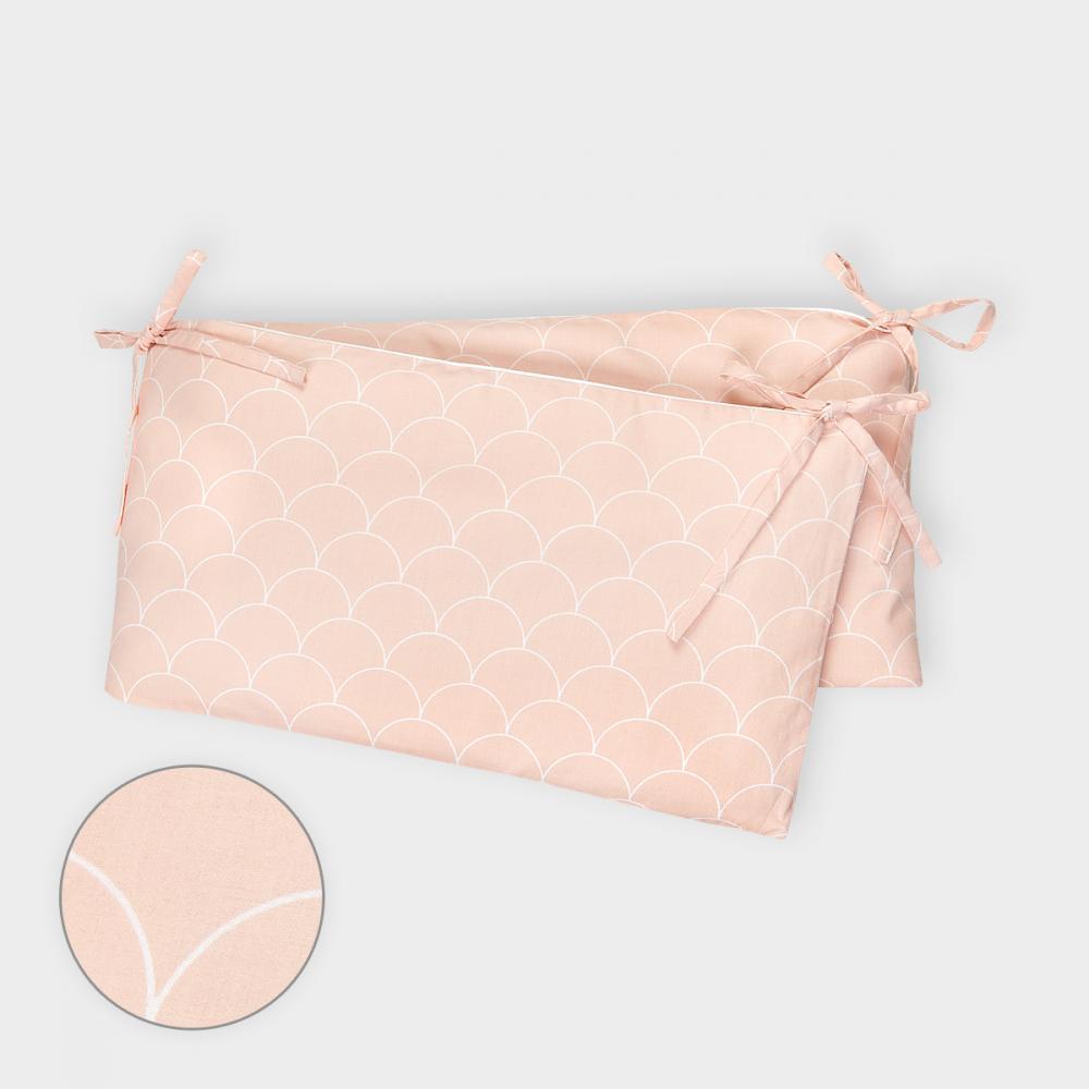 KraftKids Nestchen weiße Halbkreise auf Pastelrosa Nestchenlänge 60-70-60 cm für Bettgröße 140 x 70 cm