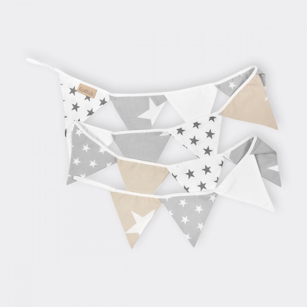 KraftKids Wimpelkette Sterne weiss beige grau
