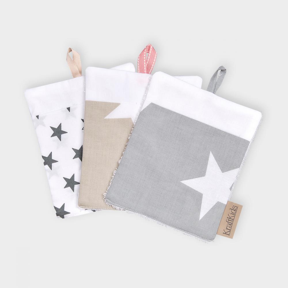 KraftKids Waschlappen große weiße Sterne auf Beige und große weiße Sterne auf Grau und kleine graue Sterne auf Weiss 3er Set Sterne