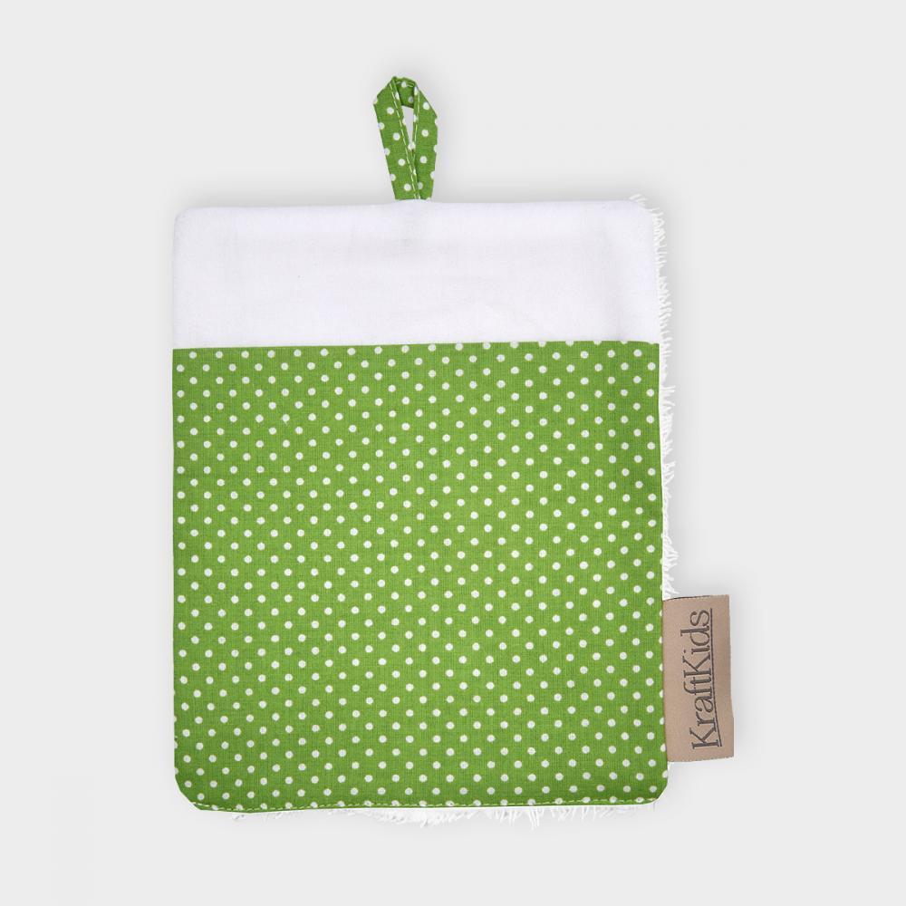 KraftKids Waschlappen weiße Punkte auf Grün