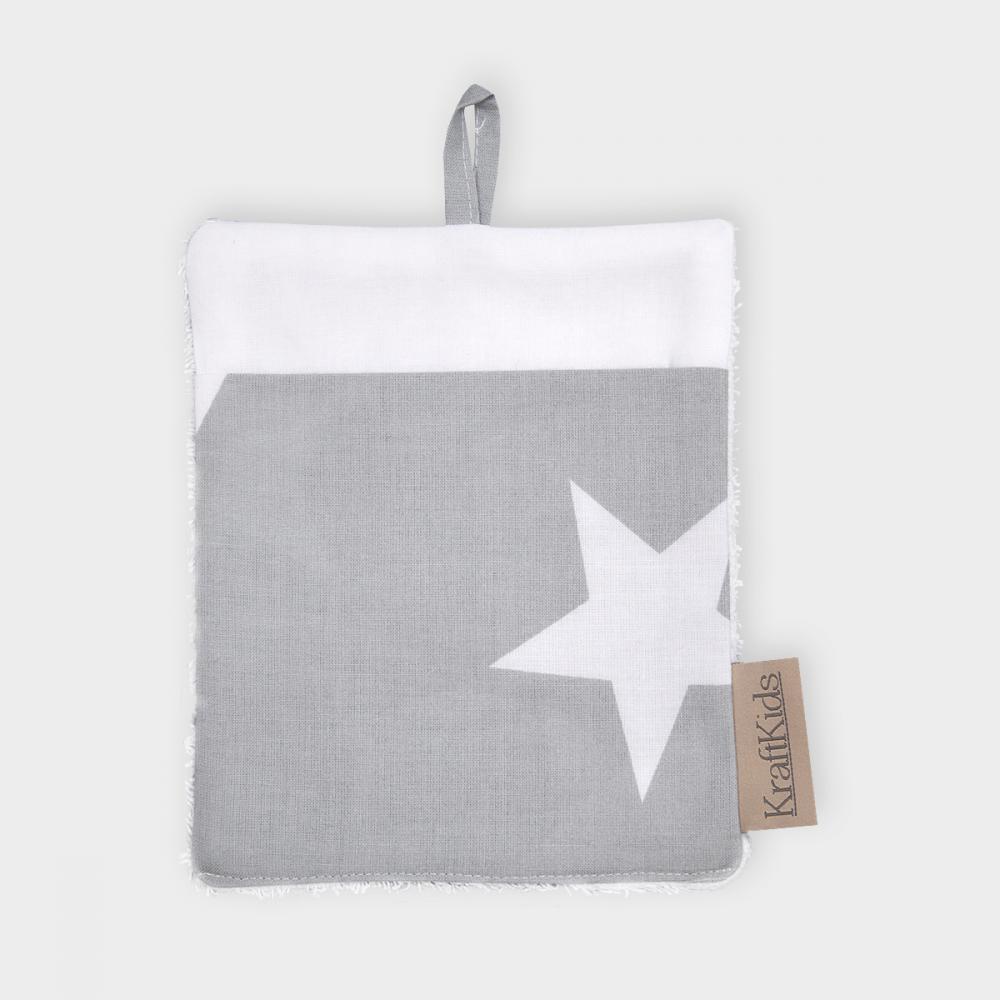 KraftKids Waschlappen große weiße Sterne auf Grau