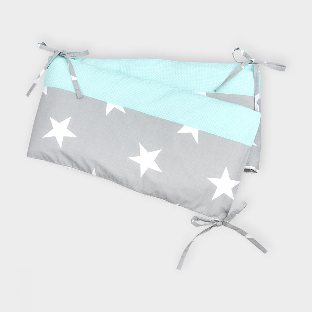 KraftKids Nestchen große weiße Sterne auf Grau und weiße Punkte auf Mint Nestchenlänge 60-60-60 cm für Bettgröße 120 x 60 cm