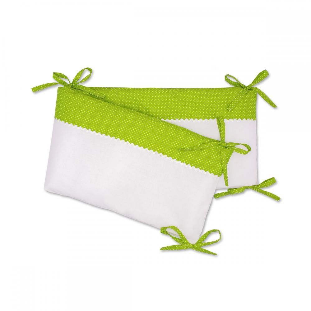 KraftKids Nestchen Uniweiss und weiße Punkte auf Grün Nestchenlänge 60-70-60 cm für Bettgröße 140 x 70 cm