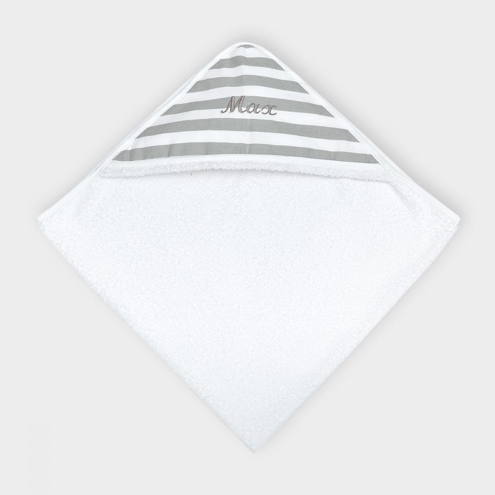 KraftKids Kapuzenhandtuch dicke Streifen grau
