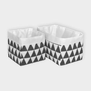 KraftKids Körbchen Uniweiss und schwarze Dreiecke 20 x 20 x 20 cm