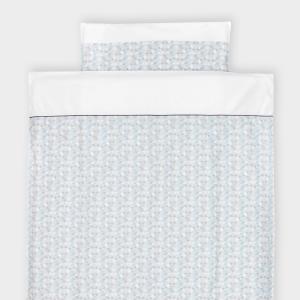 KraftKids Bettwäscheset Uniweiss und kleine Dreiecke blau grau weiß 100 x 135 cm, Kissen 40 x 60 cm