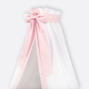 KraftKids Betthimmel kleine Blätter rosa auf Weiß