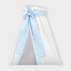 KraftKids Betthimmel kleine Blätter hellblau auf Weiß