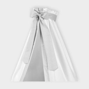 KraftKids Betthimmel kleine Blätter hellgrau auf Weiß