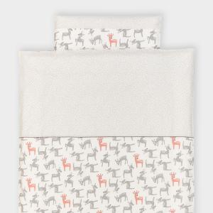 KraftKids Bettwäscheset kleine Rehkitze grau orange auf Weiß und graue unregelmäßige Punkte auf Weiß 140 x 200 cm, Kissen 80 x 80 cm