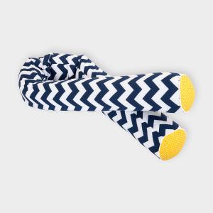 KraftKids Bettrolle weiße Punkte auf Gelb und Chevron dunkelblau Stärke: 10 cm, Rollenlänge 140 cm