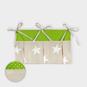 KraftKids Betttasche große weiße Sterne auf Beige und weiße Punkte auf Grün