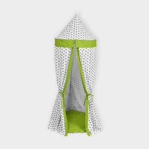 KraftKids Hängezelt kleine graue Sterne auf Weiss und weiße Punkte auf Grün Baldachin