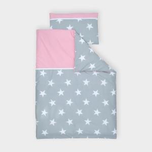 miniFifia Bettwäscheset große weiße Sterne auf Grau und Unirosa 140 x 200 cm, Kissen 80 x 80 cm