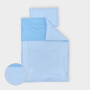 miniFifia Bettwäscheset Unihellblau und Streifen hellblau dünn 140 x 200 cm, Kissen 80 x 80 cm