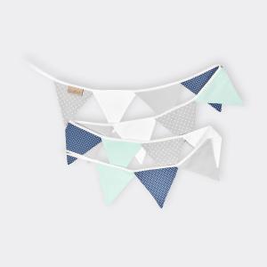 KraftKids Wimpelkette dunkelblau mint grau weiß