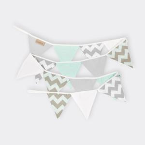 KraftKids Dekoration Wimpelkette Chevron mint-grau weiß