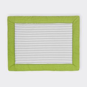 KraftKids Krabbeldecke weiße Punkte auf Grün und dicke Streifen grau