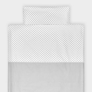 KraftKids Bettwäscheset weiße Punkte auf Grau und graue Punkte auf Weiss 100 x 135 cm, Kissen 40 x 60 cm