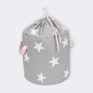KraftKids Spielzeugkorb große weiße Sterne auf Grau und weiße Punkte auf Rosa