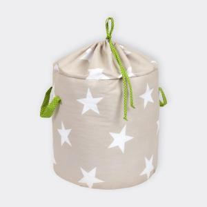 KraftKids Spielzeugkorb große weiße Sterne auf Beige