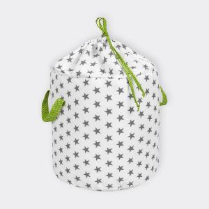 KraftKids Spielzeugkorb kleine graue Sterne auf Weiss und weiße Punkte auf Grün