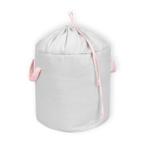 KraftKids Spielzeugkorb kleine Blätter hellgrau auf Weiß und kleine Blätter rosa auf Weiß