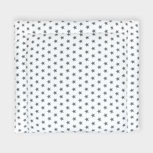 KraftKids Wickelauflage kleine graue Sterne auf Weiss breit 78 x tief 78 cm z. B. für MALM oder HEMNES Kommodenaufsatz von KraftKids