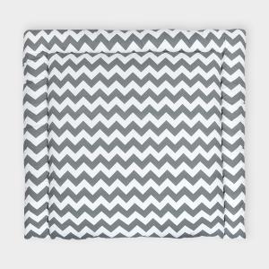 KraftKids Wickelauflage Chevron grau breit 78 x tief 78 cm z. B. für MALM oder HEMNES Kommodenaufsatz von KraftKids