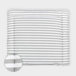 KraftKids Wickelauflage dicke Streifen grau breit 78 x tief 78 cm z. B. für MALM oder HEMNES Kommodenaufsatz von KraftKids