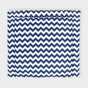 KraftKids Wickelauflage Chevron dunkelblau breit 78 x tief 78 cm z. B. für MALM oder HEMNES Kommodenaufsatz von KraftKids