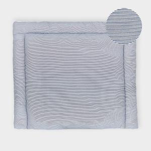 KraftKids Wickelauflage dünne Streifen dunkelblau breit 78 x tief 78 cm z. B. für MALM oder HEMNES Kommodenaufsatz von KraftKids