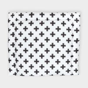 KraftKids Wickelauflage schwarze Pluszeichen breit 78 x tief 78 cm z. B. für MALM oder HEMNES Kommodenaufsatz von KraftKids