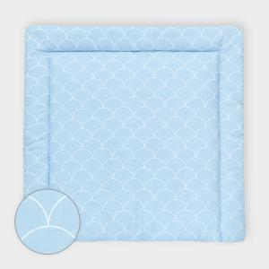 KraftKids Wickelauflage weiße Halbkreise auf Pastelblau breit 78 x tief 78 cm z. B. für MALM oder HEMNES Kommodenaufsatz von KraftKids