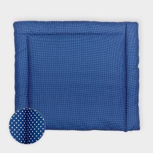 KraftKids Wickelauflage weiße Punkte auf Dunkelblau breit 78 x tief 78 cm z. B. für MALM oder HEMNES Kommodenaufsatz von KraftKids
