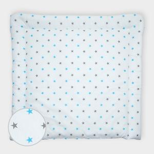 miniFifia Wickelauflage graue blaue Sterne auf Weiss breit 78 x tief 78 cm z. B. für MALM oder HEMNES Kommodenaufsatz von KraftKids