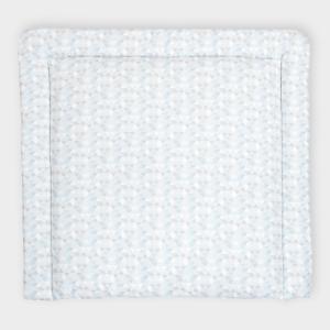 KraftKids Wickelauflage kleine Dreiecke blau grau weiß breit 78 x tief 78 cm z. B. für MALM oder HEMNES Kommodenaufsatz von KraftKids