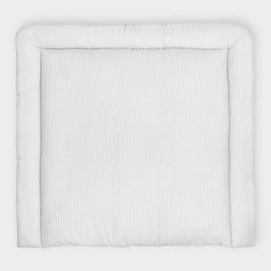 KraftKids Wickelauflage kleine Blätter hellgrau auf Weiß breit 78 x tief 78 cm z. B. für MALM oder HEMNES Kommodenaufsatz von KraftKids