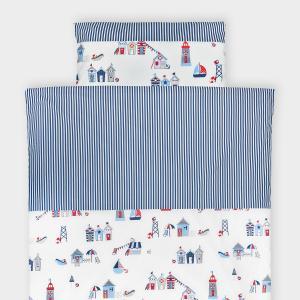 KraftKids Bettwäscheset Strandhäuschen und Streifen dunkelblau 100 x 135 cm, Kissen 40 x 60 cm