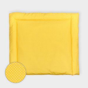 KraftKids Wickelauflage weiße Punkte auf Gelb breit 78 x tief 78 cm z. B. für MALM oder HEMNES Kommodenaufsatz von KraftKids