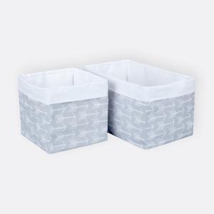 KraftKids Körbchen weiße Pfeile auf Grau 20 x 20 x 20 cm