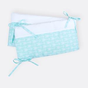 KraftKids Nestchen weiße Pfeile auf Mint Nestchenlänge 60-70-60 cm für Bettgröße 140 x 70 cm