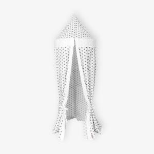 KraftKids Hängezelt Uniweiss und kleine graue Sterne auf Weiss Baldachin